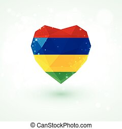 Flag of Mauritius in shape diamond glass heart. Triangulation style