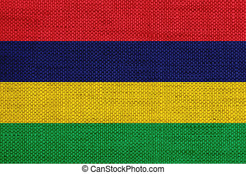 Flag of Mauritius on old linen