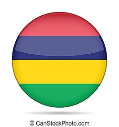 Flag of Mauritius. Shiny round button.