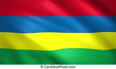 Flag of Mauritius waving in the wind