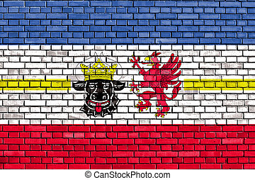 flag of Mecklenburg-Vorpommern painted on brick wall