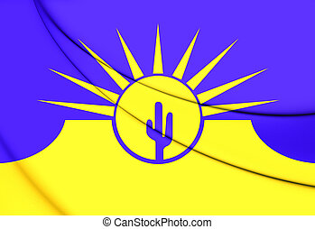 Flag of Mesa (Arizona), USA. 3D Illustration.