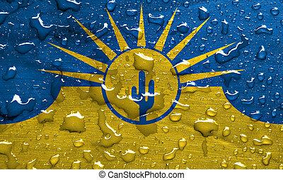 flag of Mesa with rain drops