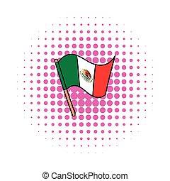 Flag of Mexico icon, comics style