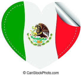 Flag of Mexico in heart shape