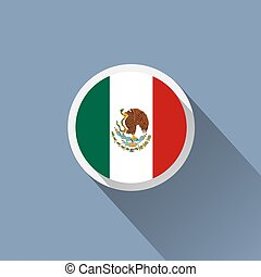 Flag of Mexico. Mexican round flat button.