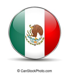 Flag of Mexico. Mexican round glass button.