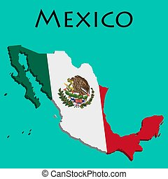 Flag of Mexico on map and map with regional division