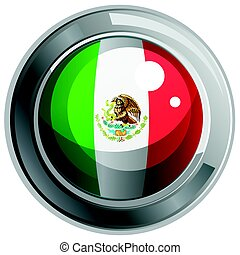 Flag of Mexico on round badge
