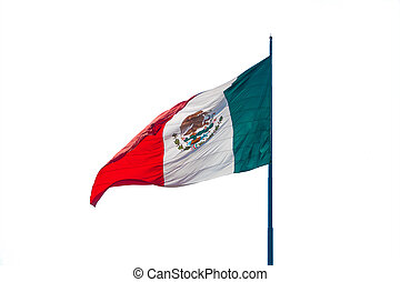 Flag of Mexico in the wind isolated over white background.
