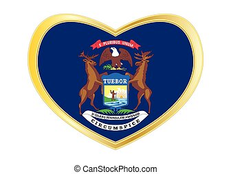 Flag of Michigan in heart shape, golden frame - Flag of the ...