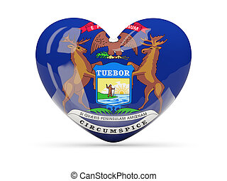 Flag of michigan, US state heart icon