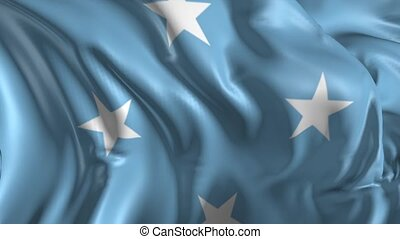 Beautiful 3d animation of Micronesia flag in loop mode