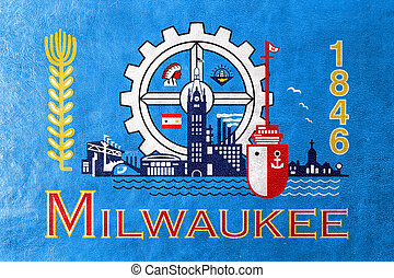 Flag of Milwaukee, Wisconsin, painted on leather texture