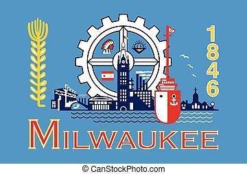 Flag of Milwaukee, Wisconsin, USA. Vector Format