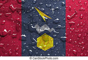 flag of Mirny with rain drops
