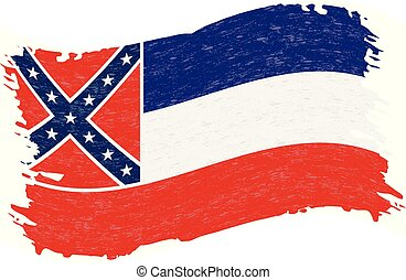 Flag of Mississippi. Grunge Abstract Brush Stroke Isolated On A White Background. Vector Illustration.
