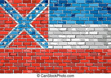 Flag of Mississippi on a brick wall