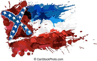 Flag of Mississippi, USA made of colorful splashes