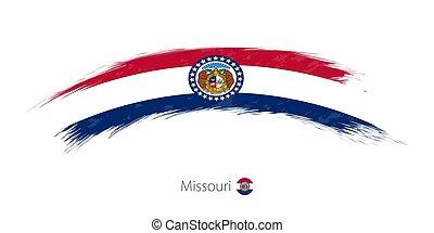 Flag of Missouri in rounded grunge brush stroke.