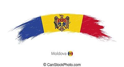 Flag of Moldova in rounded grunge brush stroke. Vector...