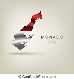 Flag of MONACO as a country with a shadow