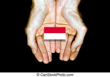 Flag of Monaco in hands on black background