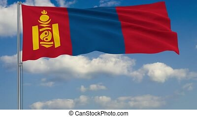 Flag of Mongolia against background of clouds