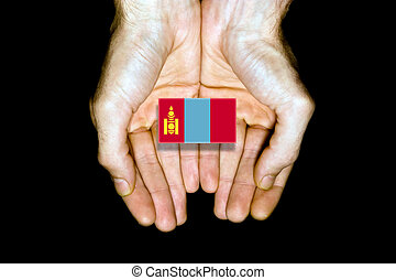 Flag of Mongolia in hands on black background