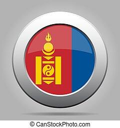 Flag of Mongolia. Metal gray round button.