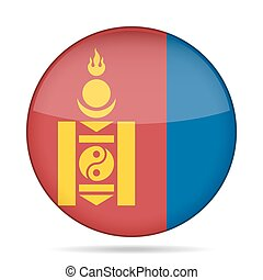 Flag of Mongolia. Shiny round button.