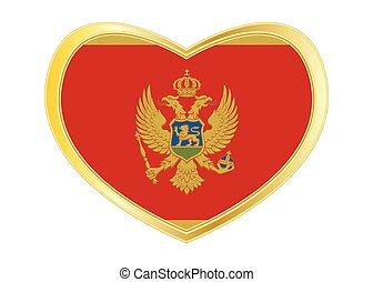 Flag of Montenegro in heart shape, golden frame -...