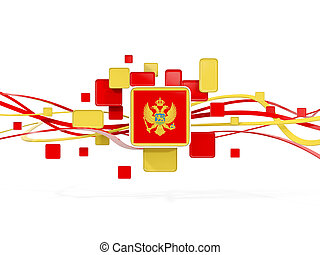 Flag of montenegro, mosaic background with lines