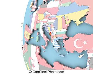 Flag of Montenegro on political globe - Montenegro on...