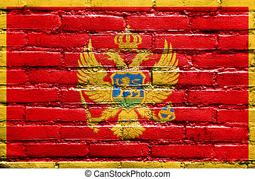 Flag of Montenegro, painted on brick wall