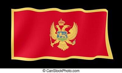Flag of Montenegro. Waving flag