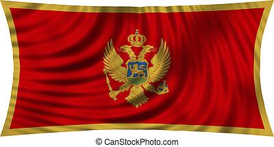 Flag of Montenegro waving isolated on white