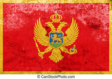 Flag of Montenegro, with a vintage and old look
