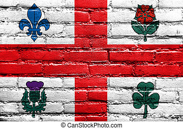 Flag of Montreal, Canada, painted on brick wall
