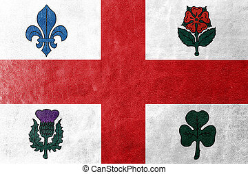 Flag of Montreal, Canada, painted on leather texture
