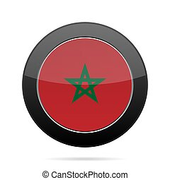 Flag of Morocco. Shiny black round button.