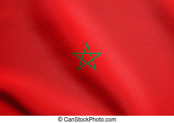 Flag of Morocco waving with fabric texture