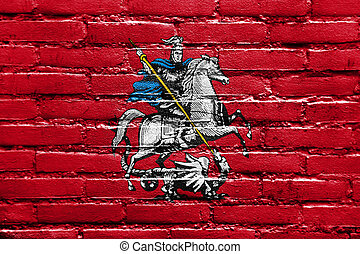 Flag of Moscow, painted on brick wall
