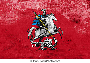 Flag of Moscow, with a vintage and old look