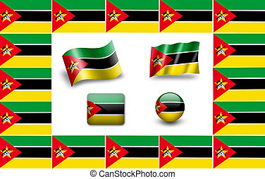 flag of Mozambique. icon set. flags frame