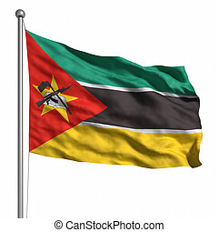 Flag of Mozambique. Rendered with fabric texture (visible at 100%). Clipping path included.