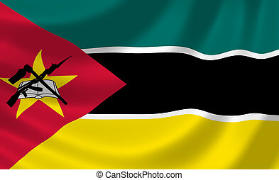 Flag of Mozambique waving in the wind detail