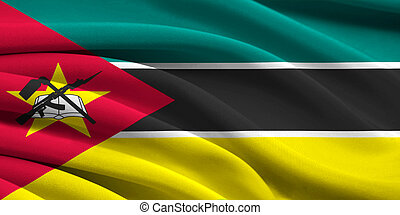 Flag of Mozambique waving in the wind