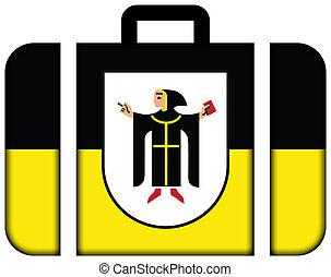 Flag of Munich with Coat of Arms, Germany. Suitcase icon, travel and transportation concept