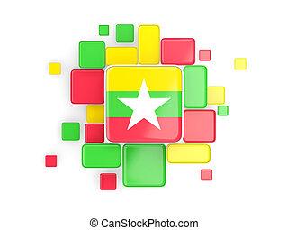 Flag of myanmar, mosaic background